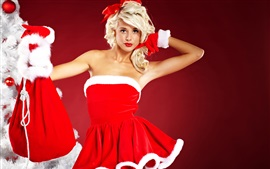 Blonde Christmas girl, red skirt