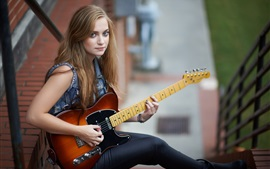 Preview wallpaper Blonde girl play guitar, music