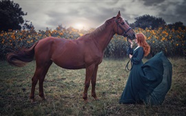 Preview wallpaper Blue skirt girl and brown horse, wind