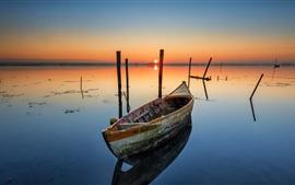 Boat, lake, dawn, sunrise