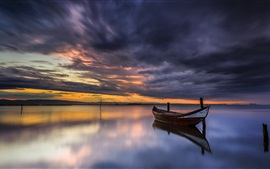 Boat, river, clouds, sunset