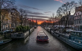Boat, river, houses, trees, evening, Netherlands