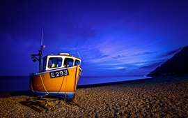 Preview wallpaper Boat, sea, coast, blue, night
