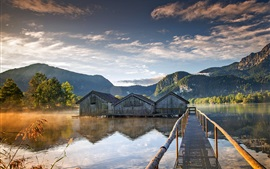 Boathouses, bridge, lake, trees, mountains, morning