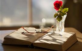Book, glasses, rose, vase, sun rays