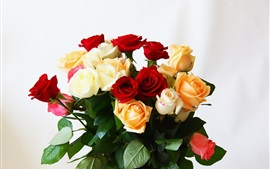 Bouquet flowers, roses, red, white, yellow