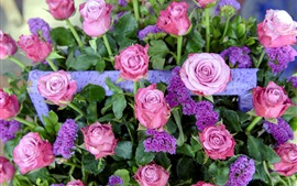 Preview wallpaper Bouquet, pink roses and purple flowers