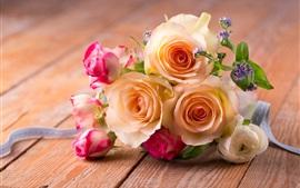 Aperçu fond d'écran Bouquet de roses, fleurs roses et blanches