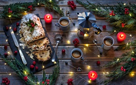 Preview wallpaper Bread, coffee, cups, lights, twigs, spoon, candles