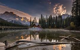 Bridge, house, lake, mountains, trees