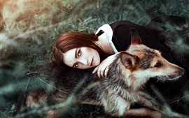 Preview wallpaper Brown hair girl and dog, friends