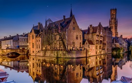 Bruges, Belgium, night, river, houses, lights