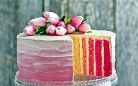 Cake, multi layers, pink tulips