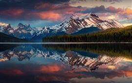 Canada, Albert, park, water reflection, mountains, trees, lake, clouds, dusk