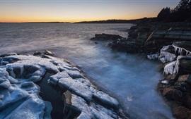 Canadá, rochas, mar, gelo, inverno