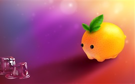 Preview wallpaper Cartoon lemon, pet, ice cubes, creative design