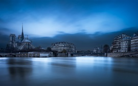 Catedral, París, Francia, río Sena, ciudad, noche