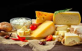 Preview wallpaper Cheese, dairy products, tomato, pepper