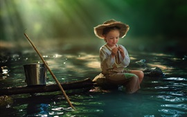 Preview wallpaper Child girl, fishing, river, water, bucket