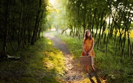 Preview wallpaper Child girl, orange skirt, suitcase, path, trees