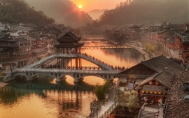 Preview wallpaper China, Hunan Province, village town, bridge, river, morning, sunrise