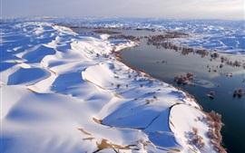 中国,雪景,河流,树木,丘陵