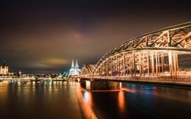Город, мост, ночь, освещение, Кельн, Германия