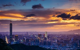 Preview wallpaper City night, Taipei, skyscrapers, clouds, sunset, Taiwan