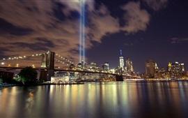 Aperçu fond d'écran Nuit de la ville, pont, rivière, gratte-ciels, illumination, Chine