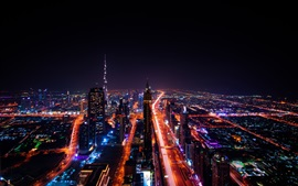 Preview wallpaper City night view, UAE, Dubai, skyscrapers, roads, lights