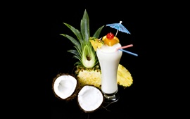 Preview wallpaper Coconuts drinks, pineapples, black background