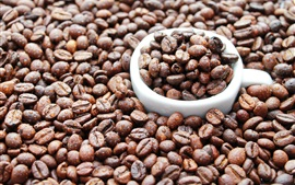 Preview wallpaper Coffee beans, water drops, cup