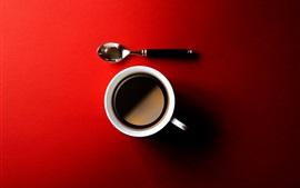 Aperçu fond d'écran Café, tasse, cuillère, fond rouge