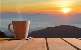 Coffee, cup, steam, spoon, sunset