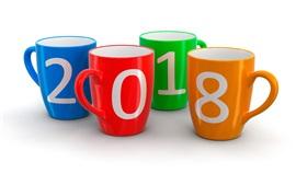 Tazas de colores, año nuevo 2018, fondo blanco