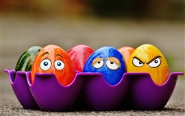 Preview wallpaper Colorful eggs, face, eyes, creative