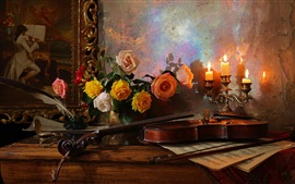 Colorful roses, flowers, candles, violin