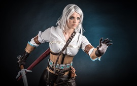 Preview wallpaper Cosplay, white hair girl