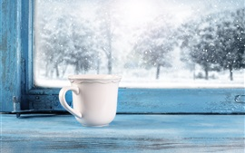 Cup, window, snowy, winter