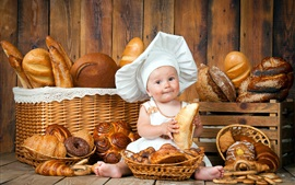 Preview wallpaper Cute baby, cook, lot of bread