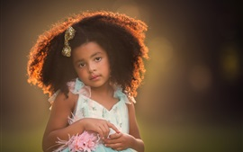 Cute child girl, hairstyle, backlight