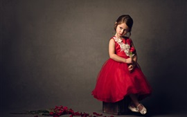Preview wallpaper Cute child, girl, red skirt, red roses