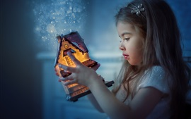 Preview wallpaper Cute child girl, toy house, light, magic