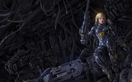 Preview wallpaper Cyborg, blonde girl, fiction, art picture
