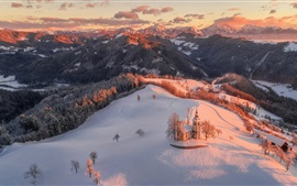 Preview wallpaper Czech Republic, morning, snow, church, mountains, forest, winter