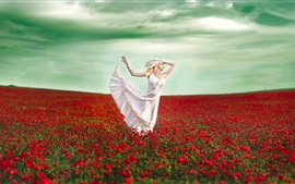 Dancing girl, poppies, red flowers field