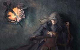 Dark Souls III, chica, descanso, fuego