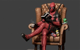Preview wallpaper Deadpool, reading, chair, coffee