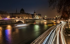 Preview wallpaper District of Notre-Dame, Paris, France, night, bridge, lights, buildings
