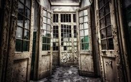 Puerta, interior, sala, ruinas